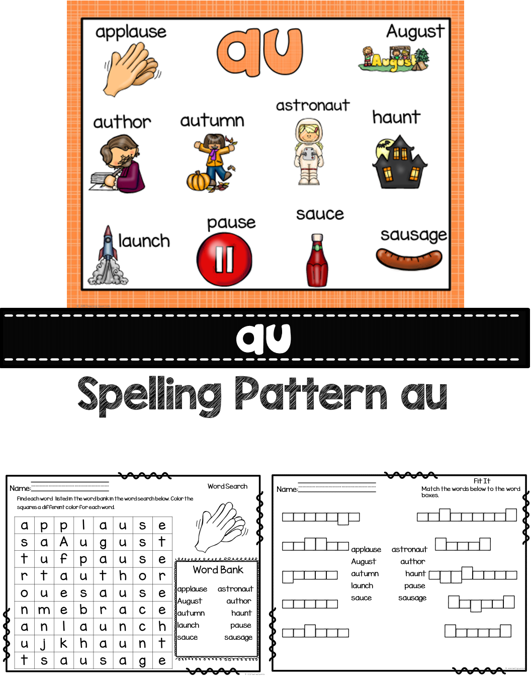AU Diphthongs Word Work Activities This set of au Word Work Activities is  packed full of fun and will engage your stude…   Word work activities [ 1344 x 1056 Pixel ]