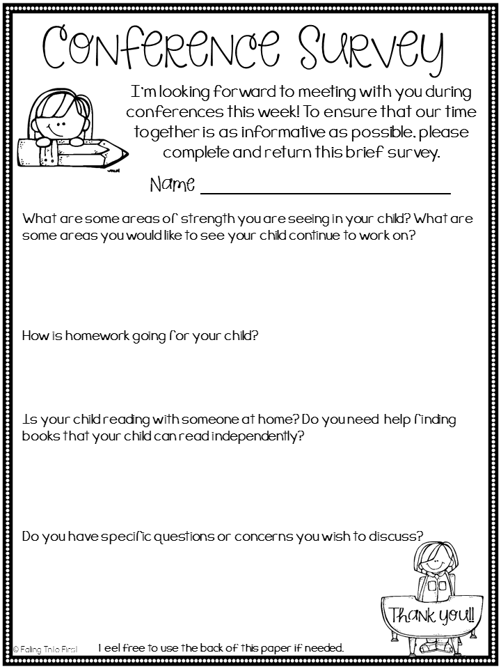 Parent Teacher Conference Parent Survey Free  Teaching