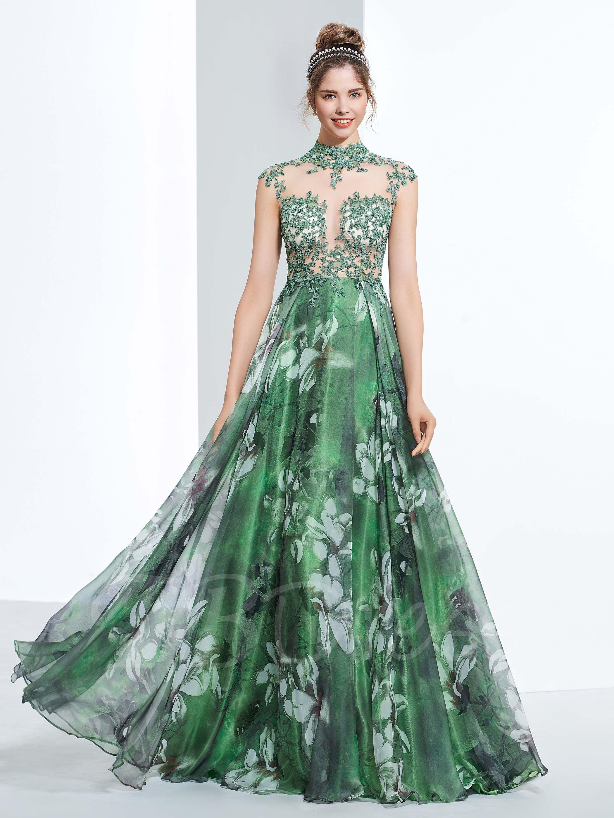 Tbdress Com A Line High Neck Cap Sleeves Appliques Button Printed Prom Dress 132 99