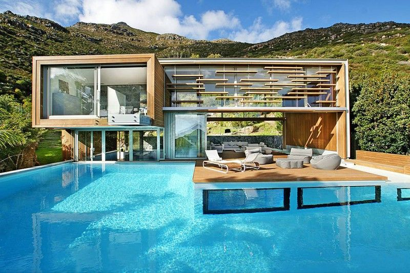 Home in Cape Town, South Africa with a basement underwater view of the pool