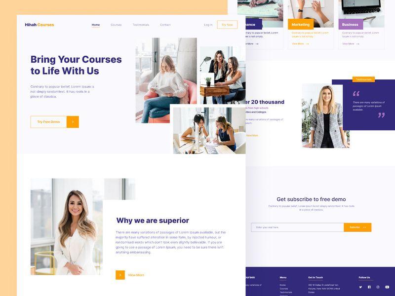 Courses Web Design Template In 2020 Course Web Web Design Simple Web Design