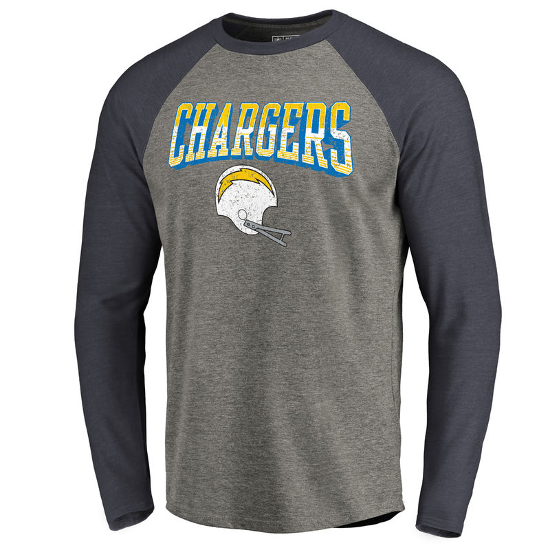 100% authentic 648de da0d7 Men s NFL Pro Line by Fanatics Branded Heathered Gray Navy Los Angeles  Chargers Throwback Collection Season Ticket Long Sleeve Tri-Blend Raglan T- Shirt