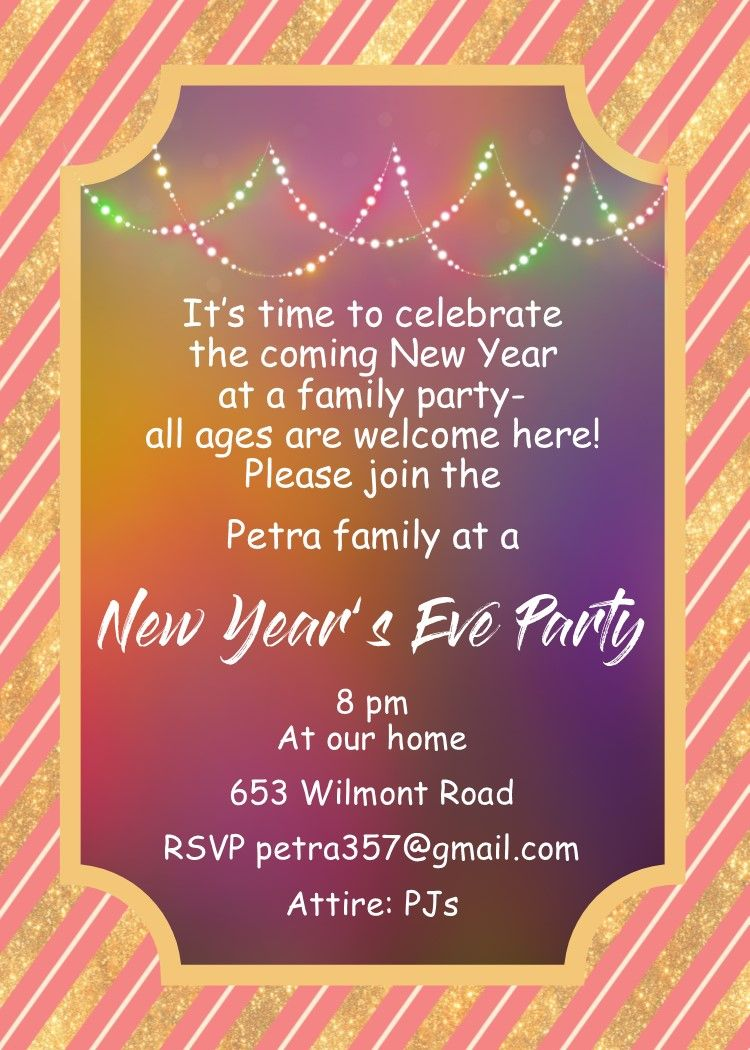 Family New Years Eve Party Invitations New Years Eve Invitations Party Invite Template Party Invitations