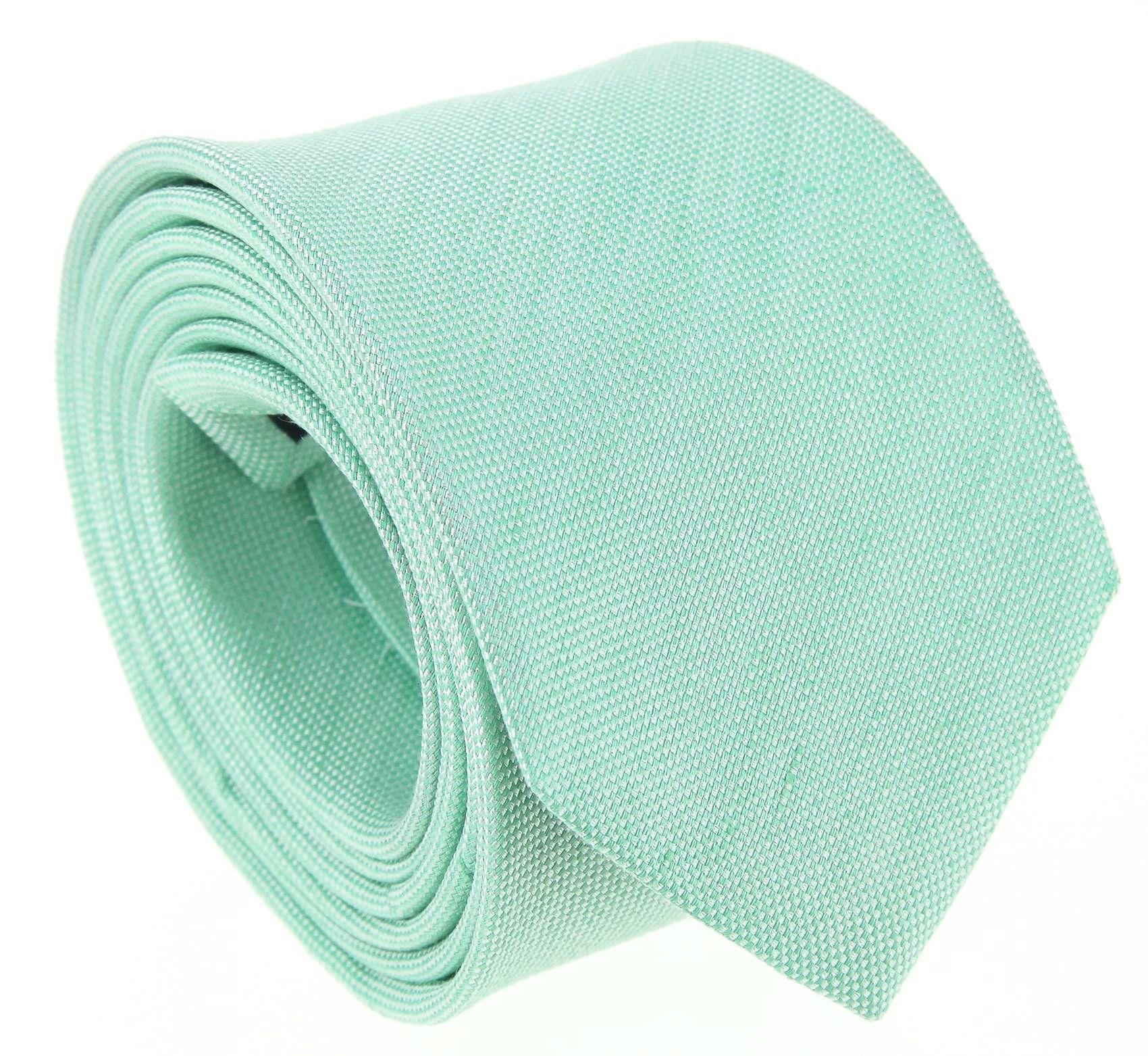 gamme de couleurs exceptionnelle sur des coups de pieds de la vente de chaussures Cravate vert d'eau en soie et lin nattés - Bergame   déco ...