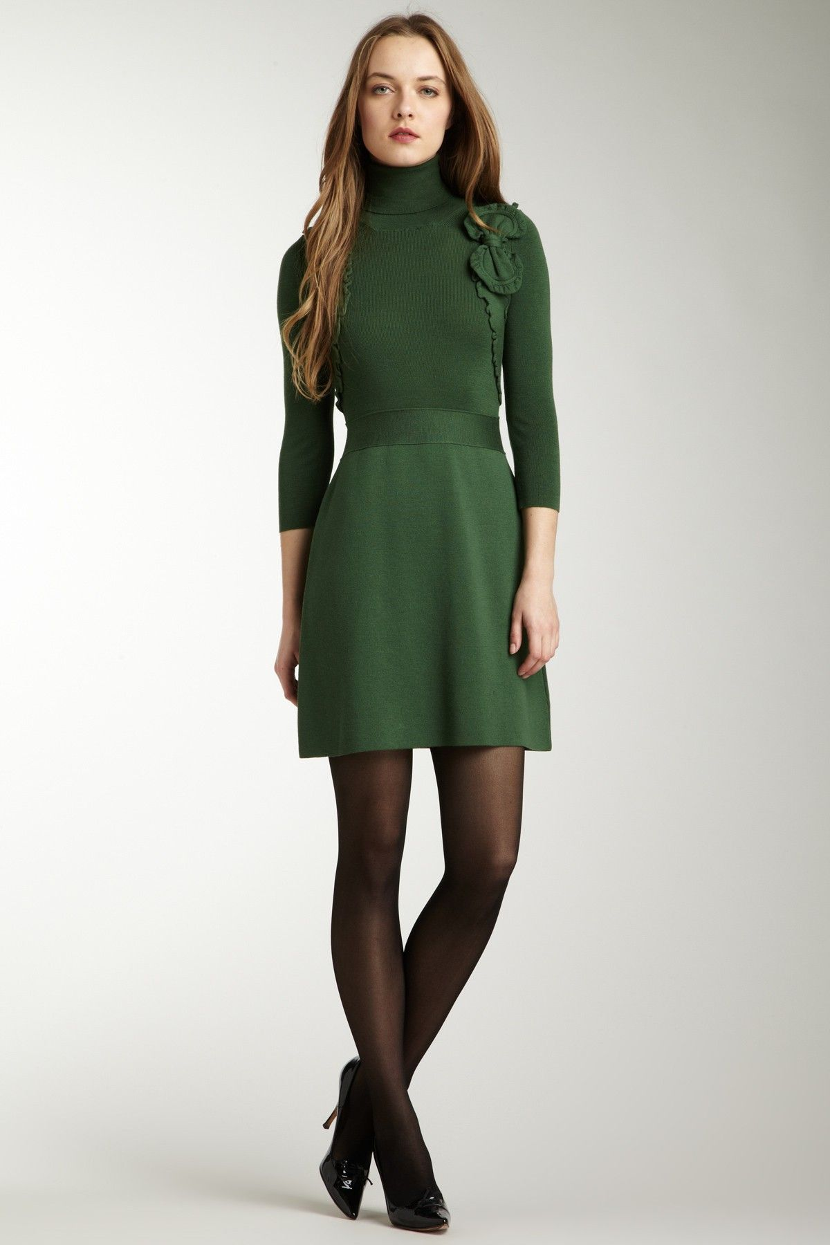RED Valentino Knit Turtle Neck Sweater Dress | Casual Chic ...