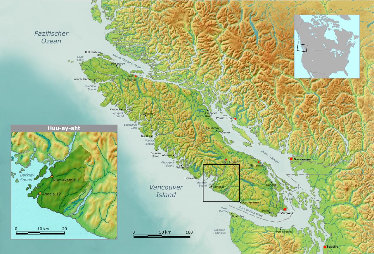 Native American history Map of Huu ay aht