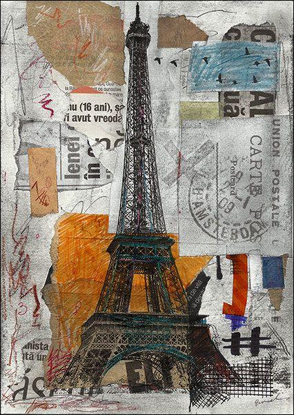 Morning In Paris Print 6 91 Art Original Mixed Media Art
