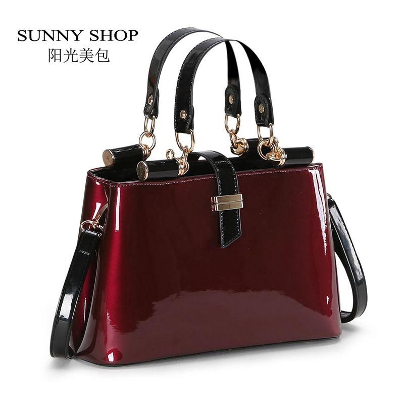 1e9e8957b Barato ENSOLARADO LOJA Alta qualidade Aristocrática mulheres mensageiro  sacos de couro brilhante bolsa de ombro moda