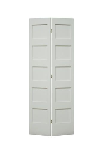 Mastercraft Reg 30 W X 80 H Primed Flat 5 Panel Bifold Door Bifold Doors Tall Cabinet Storage Closet Doors