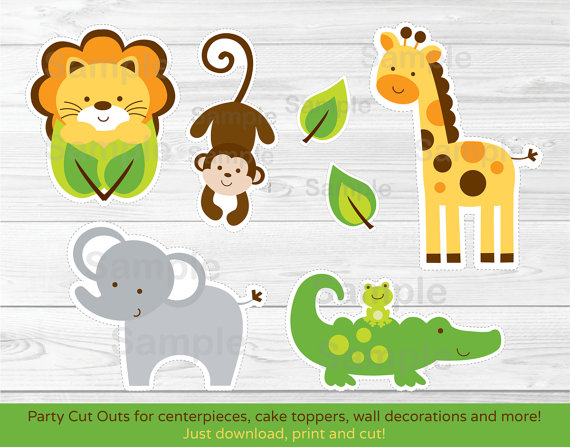 photo relating to Printable Safari Animals named Jungle Safari Animal Lower Outs / Centerpiece / Wall Decor