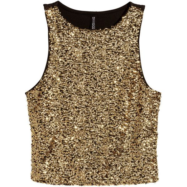 H&M Short glittery top (26 BRL) ❤ liked on Polyvore featuring tops, crop tops, h&m, tanks, jersey crop top, brown jersey, sleeveless crop top, crop tank and brown tank top