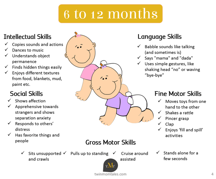 A Look At Baby Developmental Milestones With Twins At 6 To 12 Months Old Also Get A Free Baby Development Development Milestones Baby Developmental Milestones