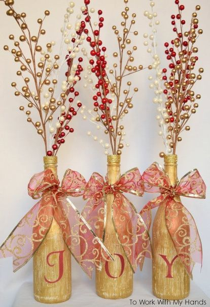 Turn Those Empty Wine Bottles Into Some Gorgeous Christmas Decor Inspiration Empty Wine Bottle Christmas Decorations