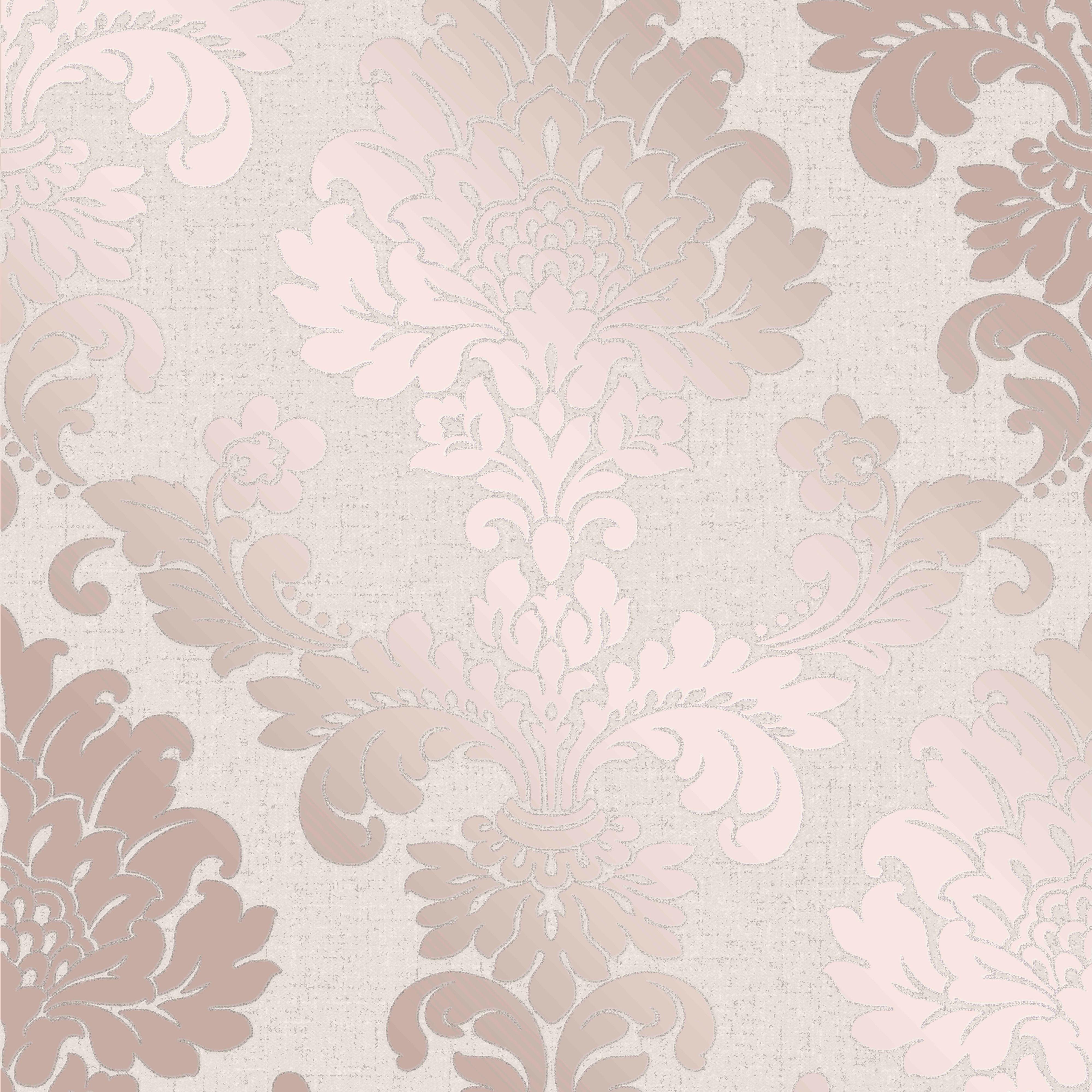 Fine Décor Rose Gold Damask Textured Wallpaper B&Q for