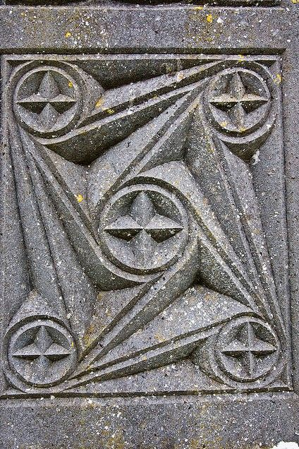 Celtic stone carving on grave stones in the aghagower