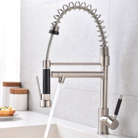 Ktaxon Modern Commercial Brushed Nickel Stainless Steel Single Lever Pull Out Sprayer Kitchen Faucet High Arch Spring Down Sink