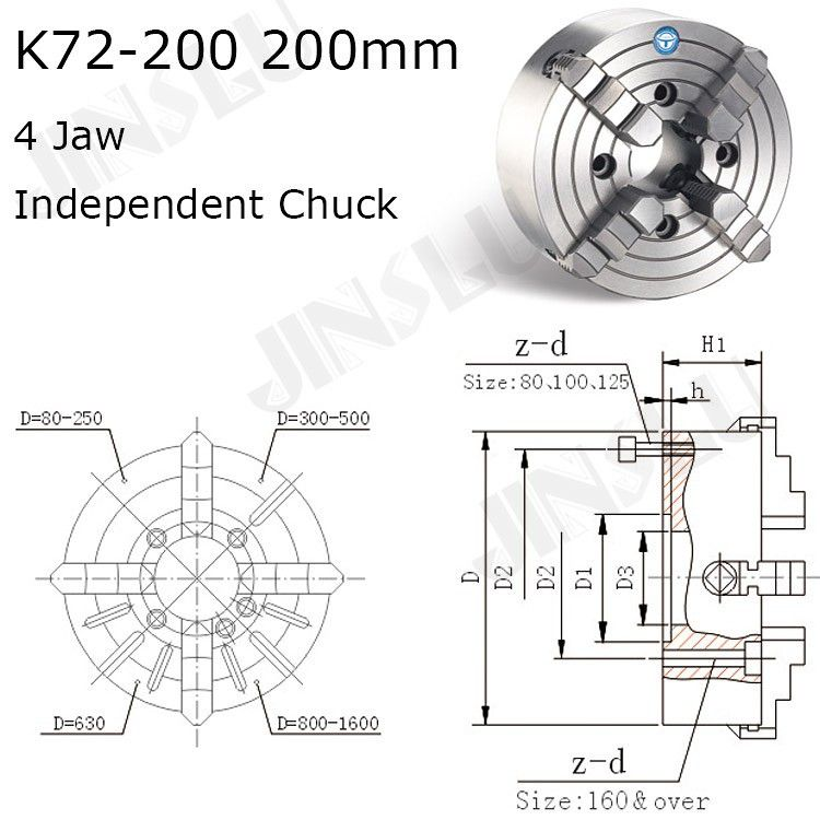 K72-200 4 Jaw Lathe Chuck Four Jaw Independent Chuck 200mm
