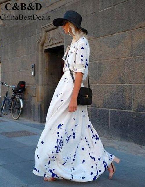 VESTIDO LONGO E CHAPÉU. VERÃO, CASUAL E BACANA. New Arrival Vestidos Fashion Women T Shirt Dress White Splash Print Shirt Collar Maxi Dress Long Sleeve Slim Autumn Long Dress