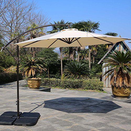 Sumbel Outdoor Living 10 Ft Aluminum Offset Patio Umbrella 8 Steel Ribs  Beige