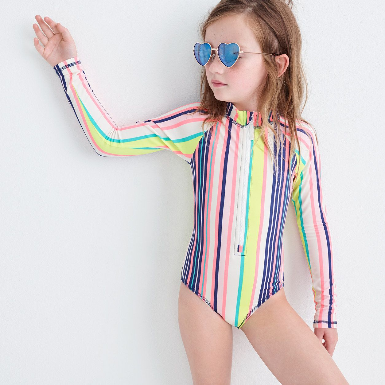 f847360fdf3 crewcuts Girls Long-Sleeve One-Piece Swimsuit In Pink Stripe (Size 6-7 Kid)