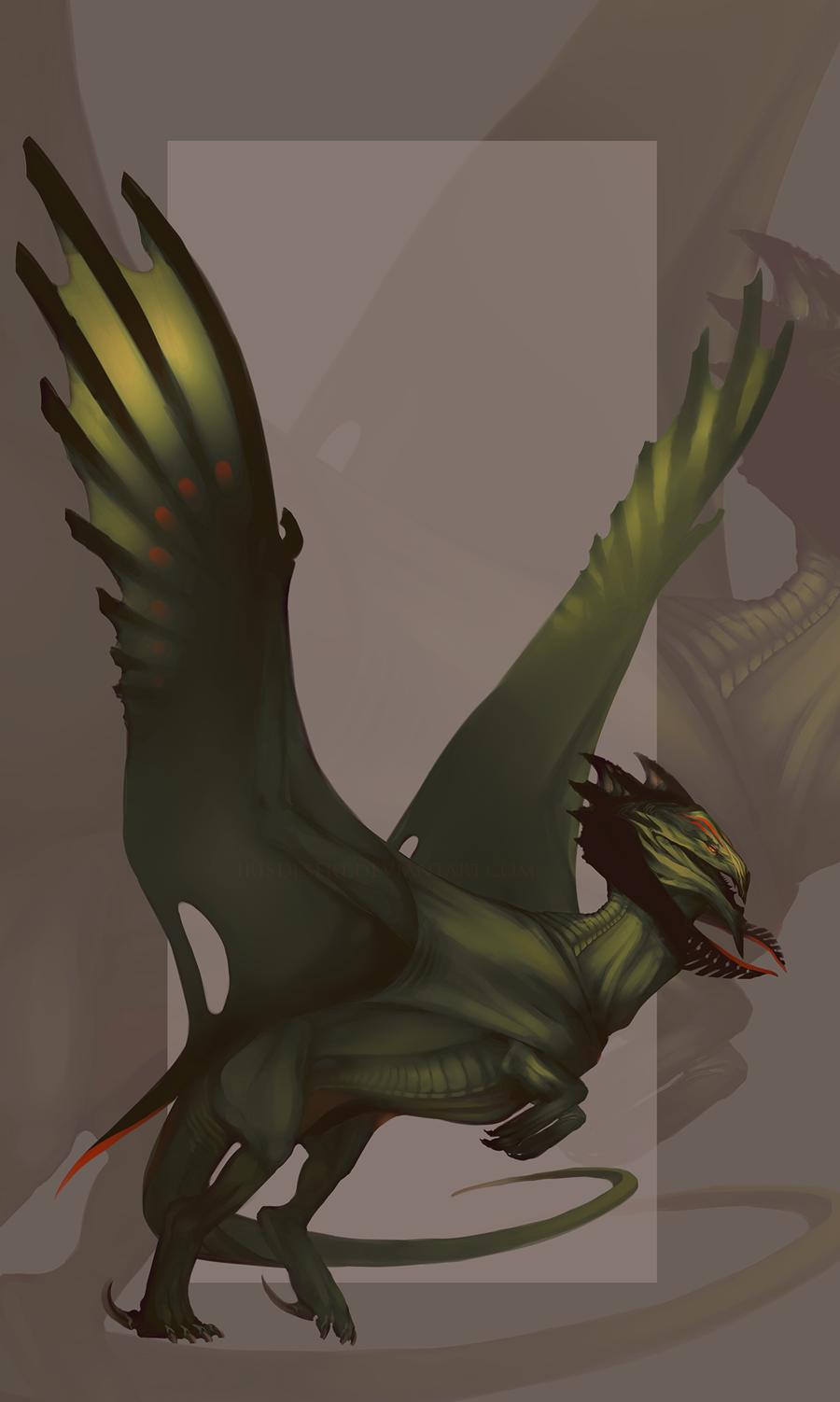 Species Design: Forest Dragon by IrisDesert.deviantart.com on @deviantART