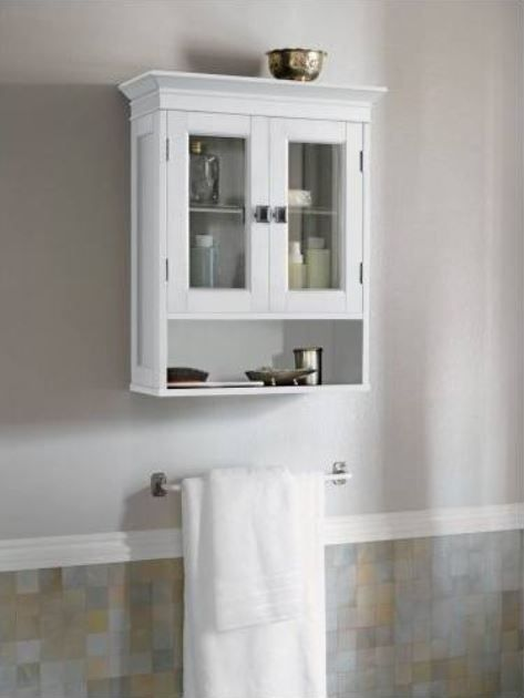Bathroom Cabinet Wall Mounted Two Glass Door Adjustable Shelf