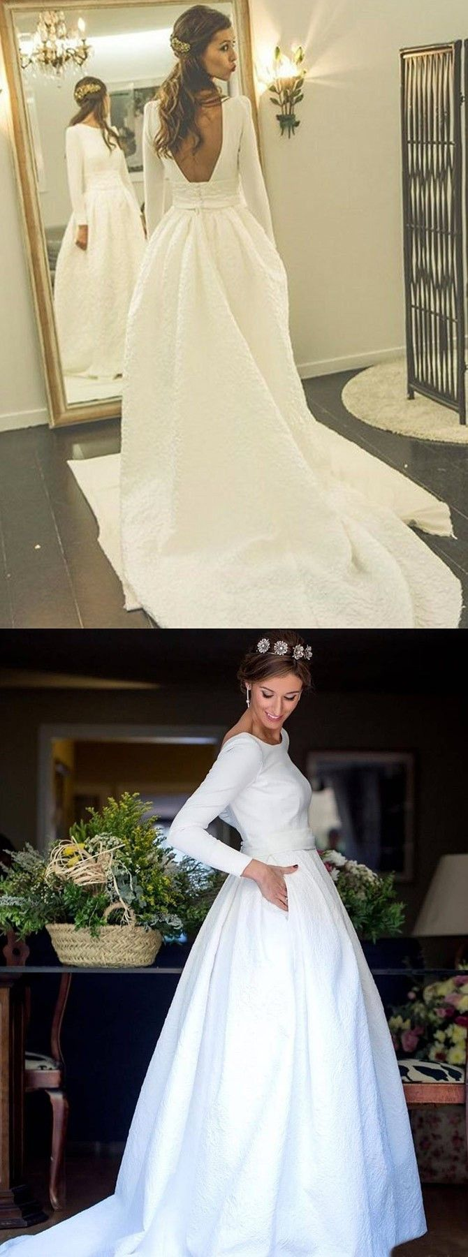 Aline round neck backless satin wedding dress with sleeves in