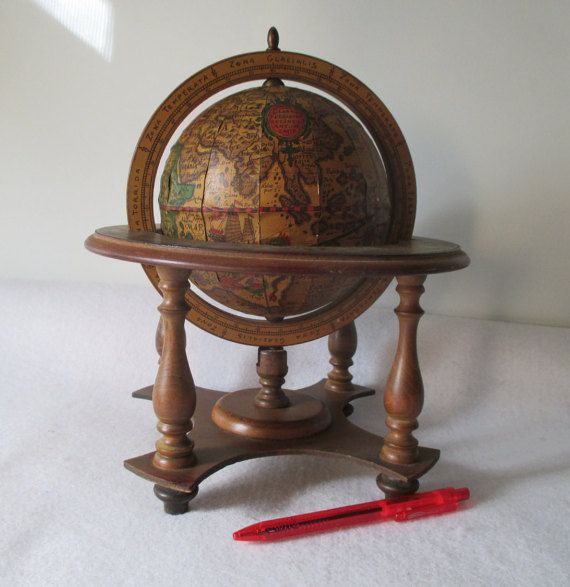 Old World Globe Vintage Rotating Wood Small Desk by HobbitHouse - Small Old World Globe, Vintage Rotating Wood, Desk, Decorative