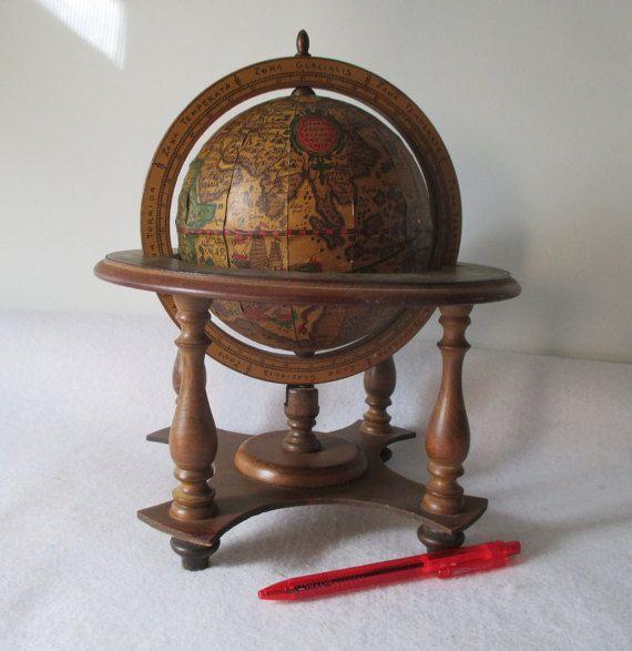 Old World Globe Vintage Rotating Wood Small Desk by HobbitHouse - Small Old World Globe, Vintage Rotating Wood, Desk, Decorative