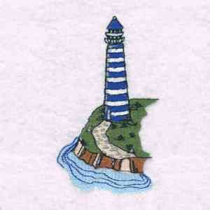 This free embroidery design is a lighthouse.  Thanks to Designs by Sick for posting it.