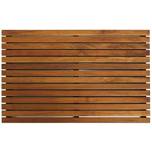 Bare Decor Zen Spa Shower or Door Mat in Solid Teak Wood and Oiled Finish, 31.5 by 19.5-Inch -