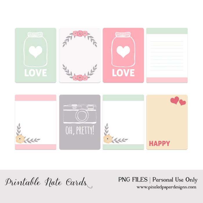 50 Free Printable Valentine S Day Project Life Cards Fab N Free Printable Note Cards Printable Journal Cards Note Card Template