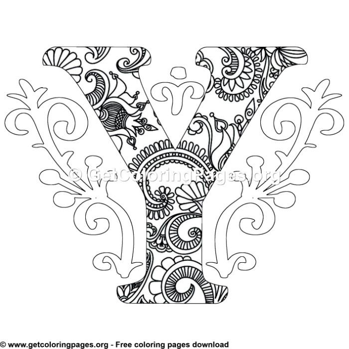 Zentangle Monogram Alphabet Letter Y Coloring Sheet Coloring Pages Owl Coloring Pages Mandala Coloring Pages