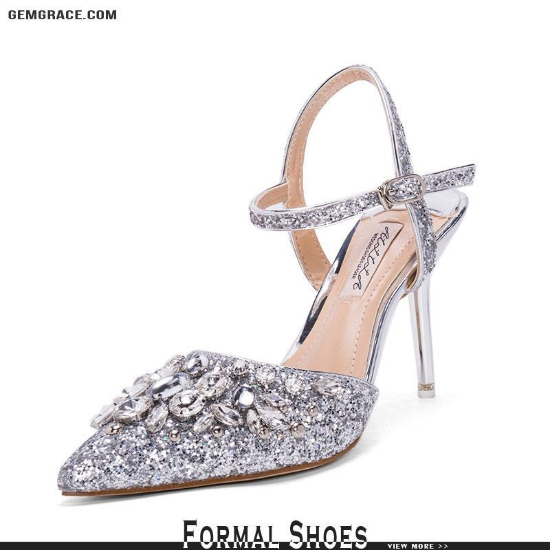 77921d3f58b8 Silver Strappy Sandals Wedding Shoes With Sparkly Crystals  ALA-6829 at  GemGrace.  2019  WeddingShoes Shop now to get  10 off. Biggest new arrivals  for ...