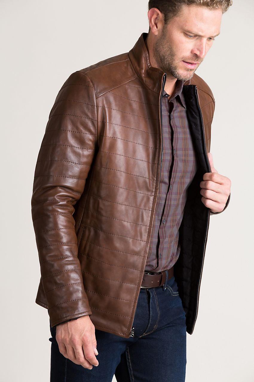 The Fashioned Design Of Lambskin Leather Keeps You Insulated With Low Bulk Quilted Warmth Leather Leather Jacket Men Leather Puffer Jacket [ 1280 x 850 Pixel ]