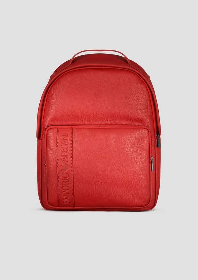 4acc56d83d Emporio Armani Grained Leather Backpack With Embossed Logo Front ...
