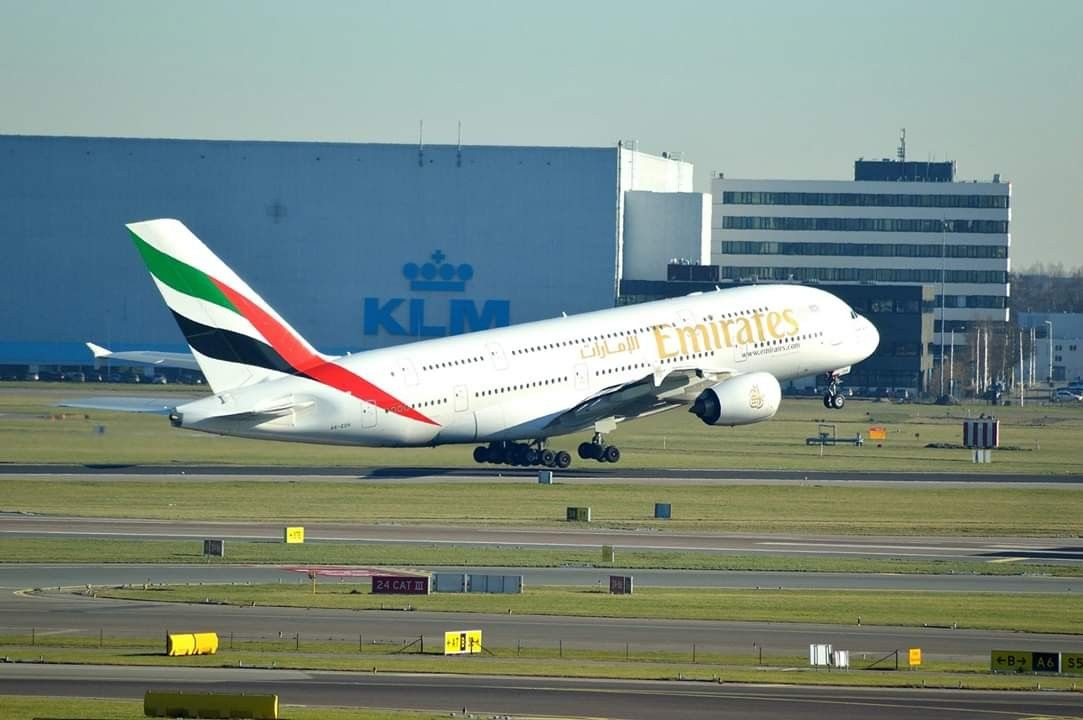 Emirates Airbus A380 800 A6 Edh Take Of From Amsterdam Airport