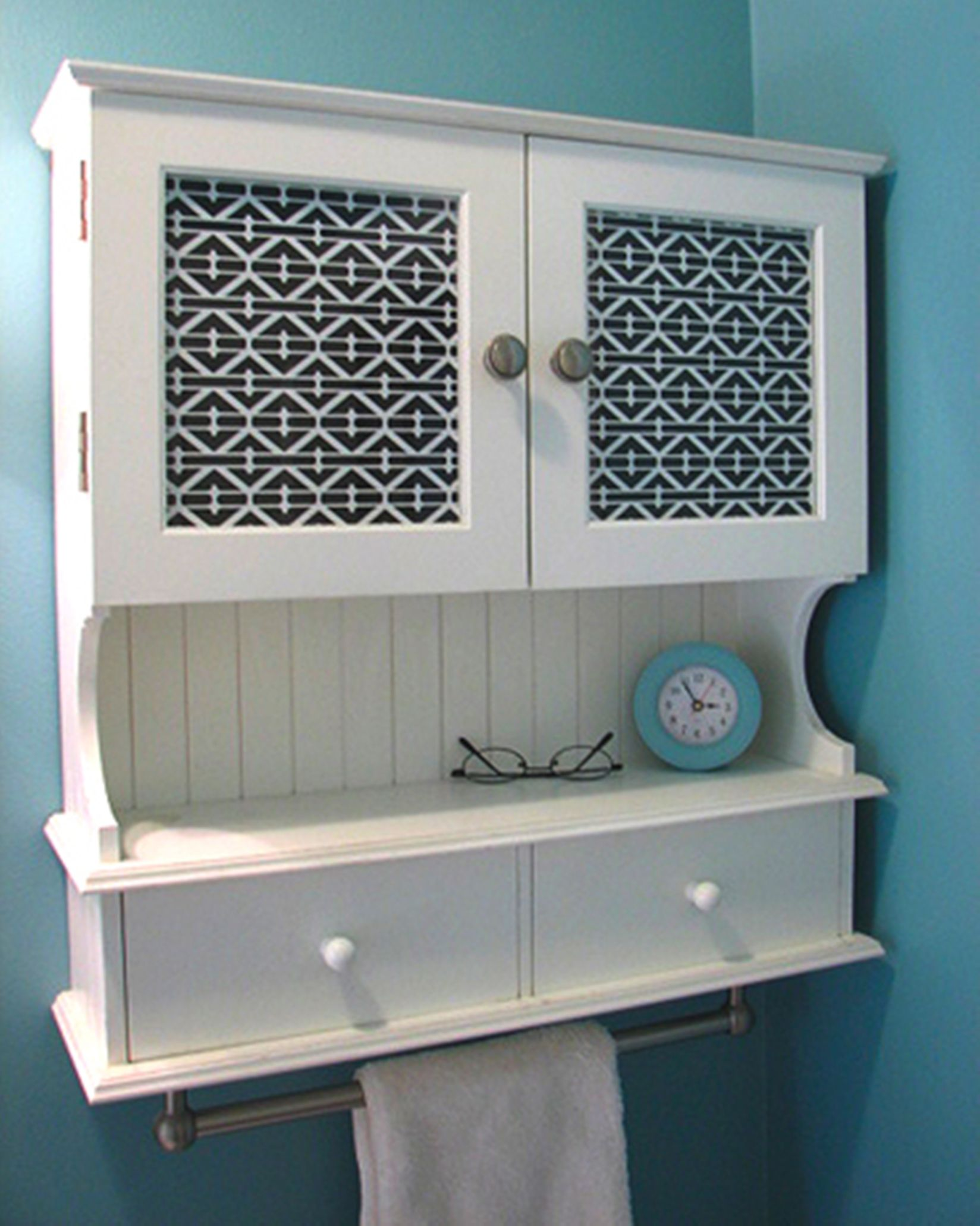 Bathroom White Wooden Shelves With Black And White Ethnic Pattern Storage Door Plus Drawers And