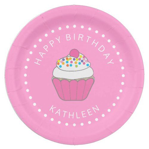 Pink Birthday Cupcake Paper Plates  sc 1 st  Pinterest & Pink Birthday Cupcake Paper Plates | Cupcake papers and Birthdays