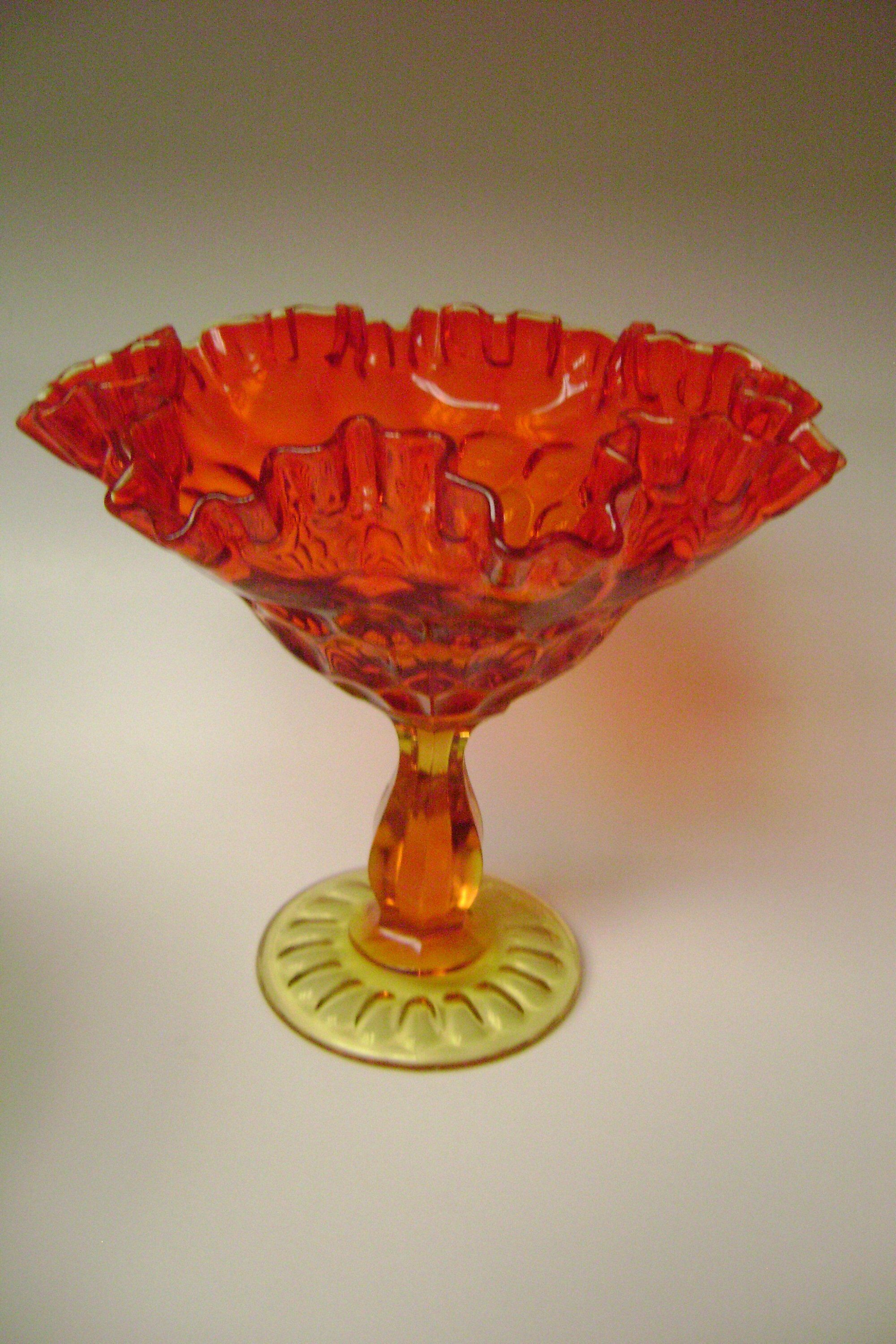 Large Fenton Amberina Ruffled Candy Dish Compote Red Etsy In 2020 Candy Dishes Glass Candy Dish Fenton