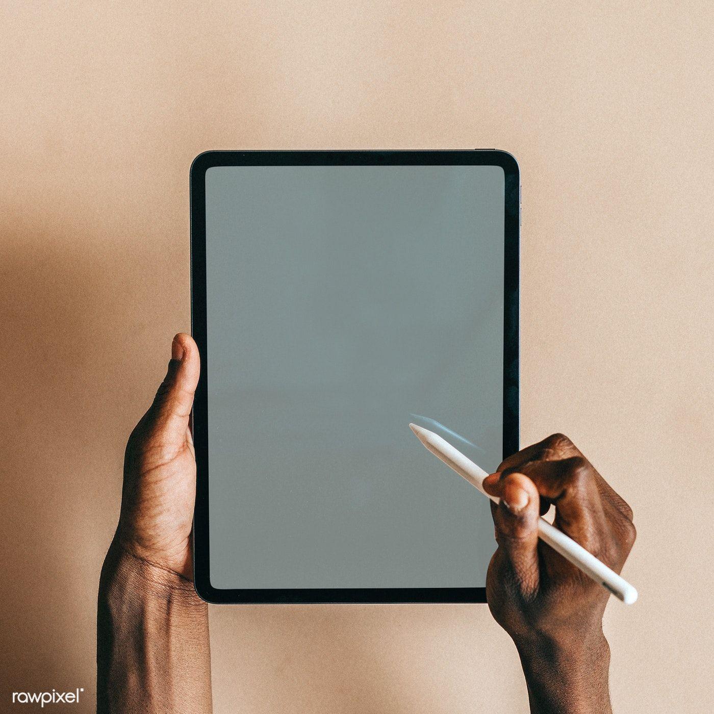 Download Premium Psd Of Black Man Using A Digital Tablet Mockup 1226328 Digital Tablet Mockup Tablet