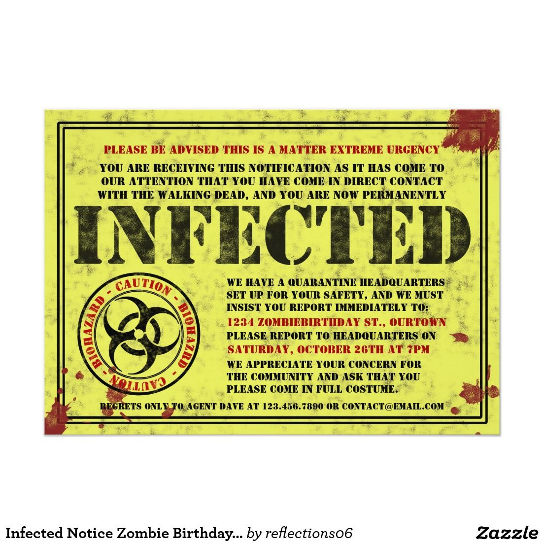 Infected notice zombie birthday party invitations zombie birthday infected notice zombie birthday party invitations 5 x 7 invitation card stopboris Image collections