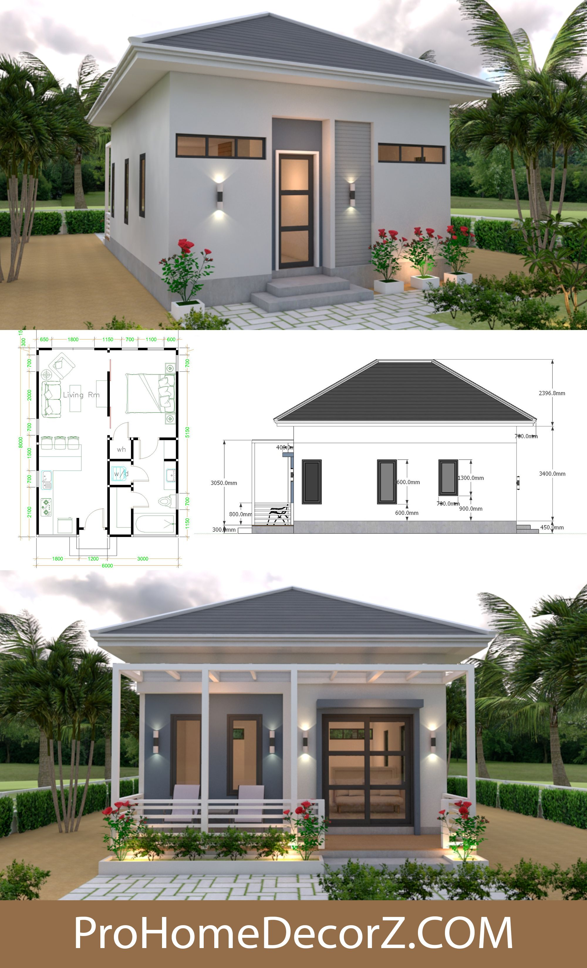 Small Homes 6x8 Hip Roof Full Plans 48sq M Small House Design House Design Small House