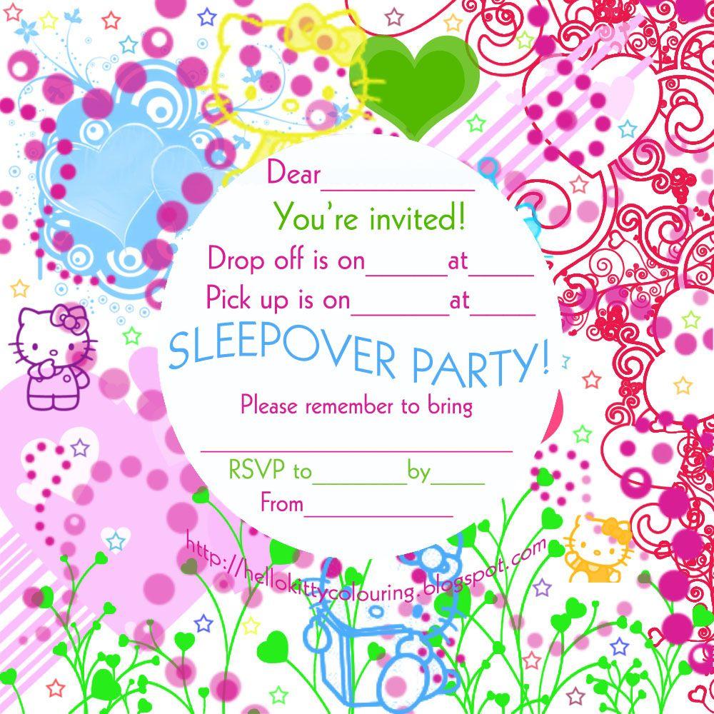 HELLO KITTY FREE SLUMBER PARTY INVITES | Sleepover invitations, Slumber party  invitations, Party invitations diy