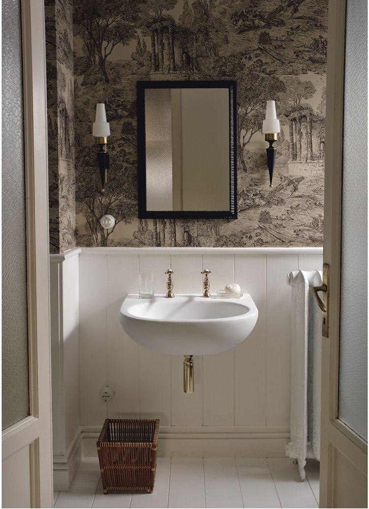 Design Handwaschbecken Badezimmer Retro Weiss Armatur Messing #badezimmer  #bathroom #ideas