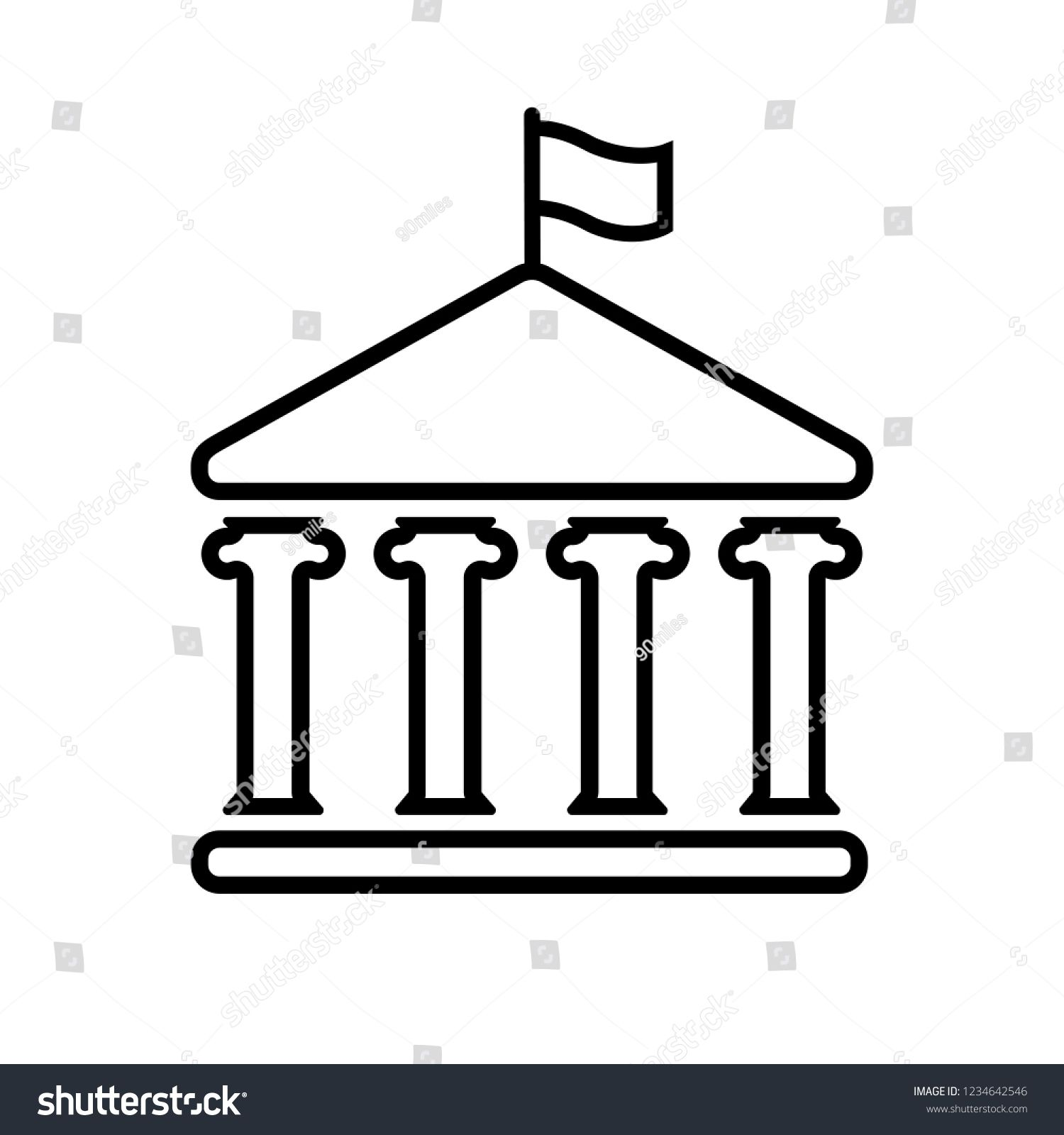 House With Columns And Flag Line Icon Building Of Government Embassy Official Institution Or Establishment With Flyi Line Icon Map Murals Stock Illustration