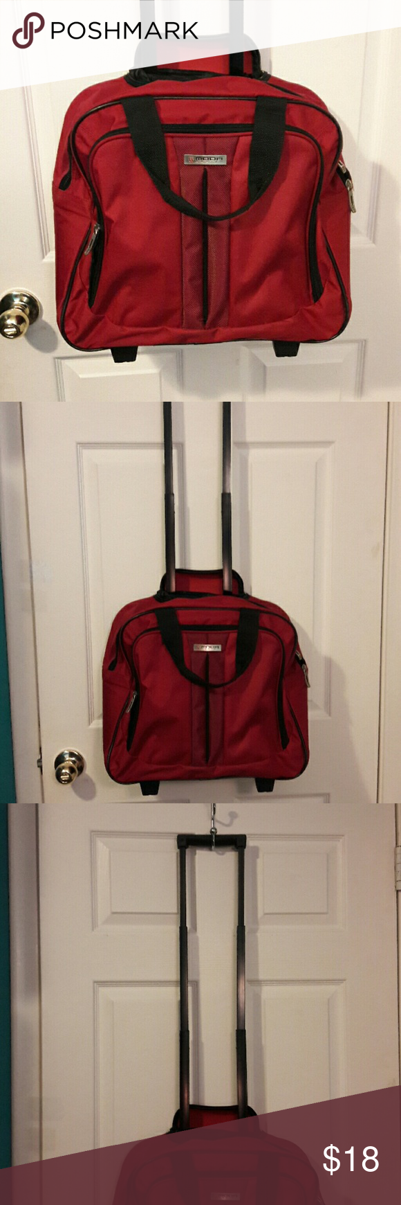 TRAVEL BAG W/WHEELS Like new. Normal wear on wheels. Only used twice in a flight as my carry on. Great shape. Lots of room. 1 outer pocket of good size. Room to fit your laptop, just check measurements.  16W 14L 6.5W. Handle extension is 25 in, which hides when not in use. Moda International Bags Travel Bags