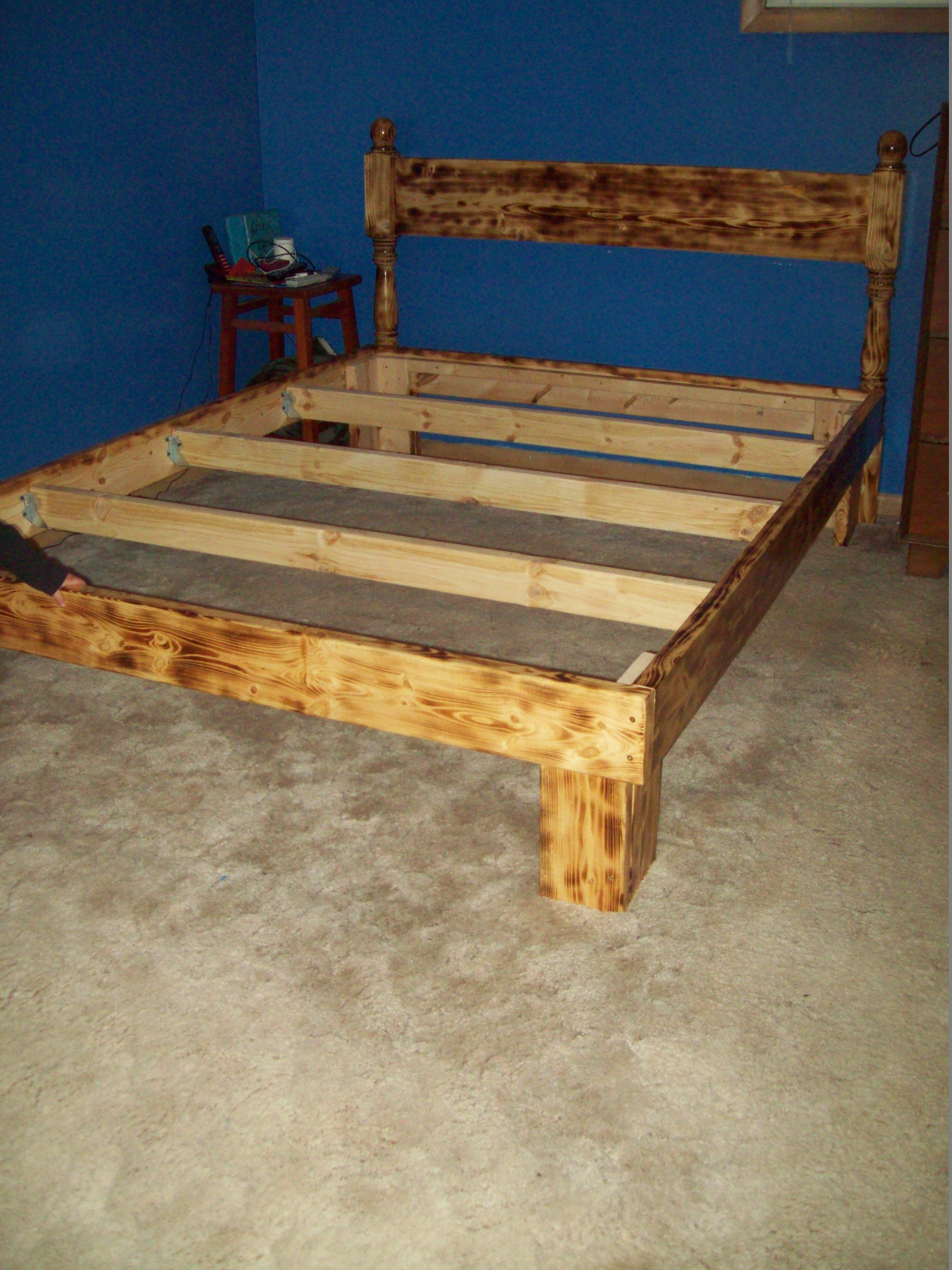 Bed Frame Made Out Of 2 X 6 Boards Burnt With A Torch And Clear