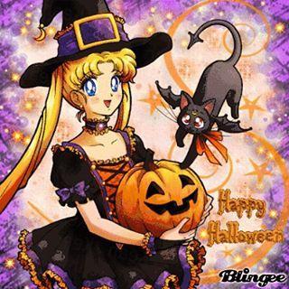 10/31/15 Happy Halloween from Usagi \u0026 Luna 🎃🌙🐱(Blingee
