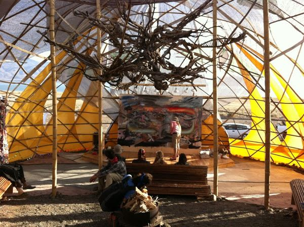 Art gallery at Symbiosis Pyramid Lake Eclipse Gathering - inside the dome - awesome driftwood sculpture